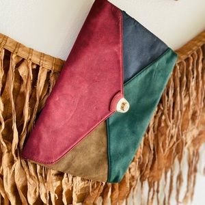 Vintage Suede Multicolor Clutch